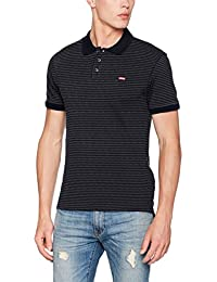 Levi's Housemark Polo, T-Shirt Homme, Gris (Pluck Stripe Dark Heather Grey/ Night Sky 60), Small (Taille Fabricant: S-)