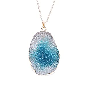 Broadroot Sweater Chain Irregular Crystal Natural Stone Necklace Long Pendant Jewelry for Women Teen Girls (Lake Blue)