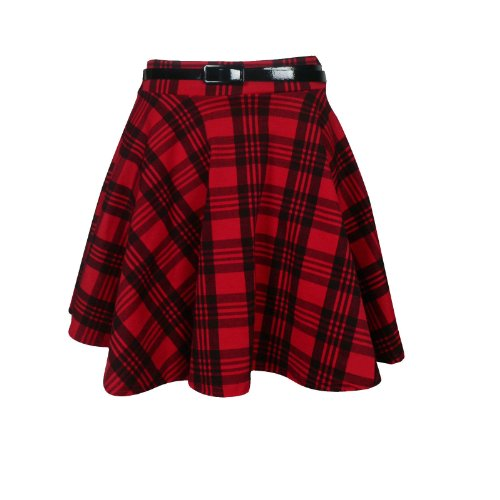 New ladies women tartan check print belted skirt (s/m uk 8-10, red & black) - Belted Check