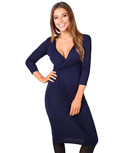 6174-NVY-20: Einfarbiges Kreuzender V-Ausschnitt Jersey Kleid (Marineblau, Gr.48) (Kate Middleton Kostüm)