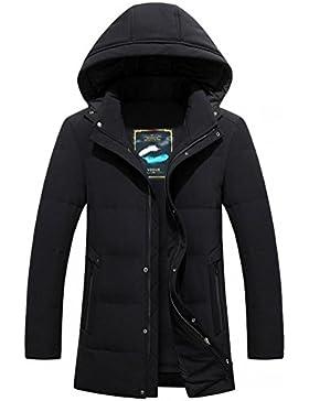 Nueva pato blanco abajo del abrigo de invierno chaqueta de cuello de los hombres ocasionales , black , xxxl
