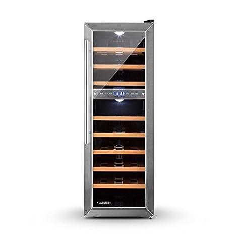 Klarstein Reserva 27D • Weinkühlschrank • Getränkekühlschrank • 76 Liter • 27 Flaschen • 2 Zonen • 8 Holzeinschübe • LED • freistehend • sehr leise • LCD-Display • Innentemperaturanzeige • verstellbare Standfüße • schwarz-silber