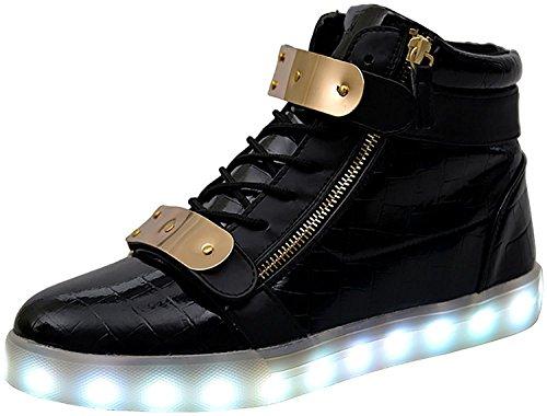 TULUO High Top Led Light Up Shoes Velcro metallo di ricarica USB 11 colori lampeggianti scarpe da tennis delle donne degli uomini per ragazzi delle ragazze Black 41 EU
