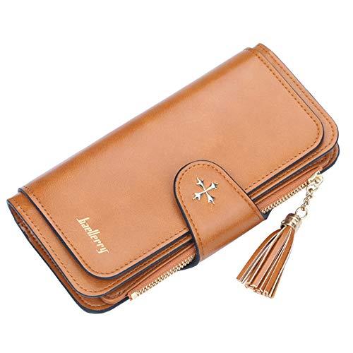 Damen Geldbörsen aus Leder, Geldbörse mit großem Fassungsvermögen und Clutch-Handtasche mit Münzfach,3