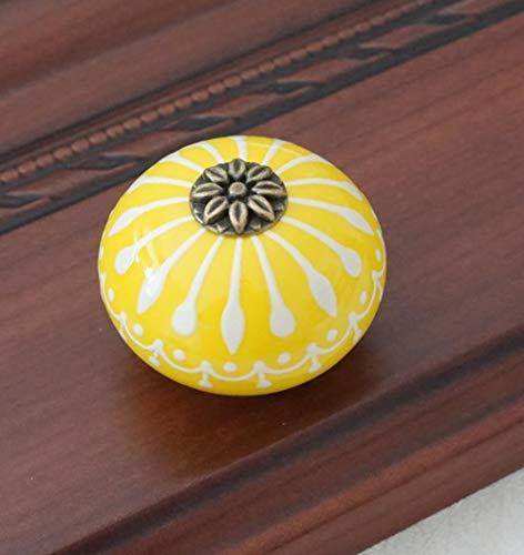 OLDK Keramikknopf/Kommode Knöpfe weiß blau Kabinett zieht Knöpfe/einzigartige Küche Türgriff Knopf Möbelbeschläge, gelb (Einzigartige Küche-kabinett-knöpfe)