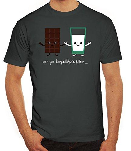 Valentinstag Herren T-Shirt mit Chocolate + Milk Motiv von ShirtStreet Darkgrey