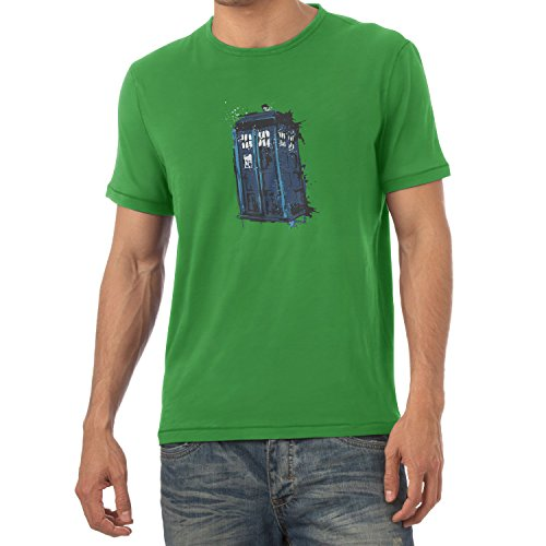 NERDO - Police Box Splash - Herren T-Shirt Grün