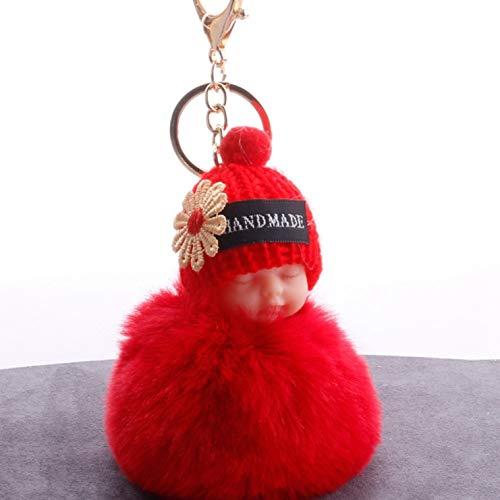 anpingyoupu süßes handgemachtes Flauschiges Plüschtier Hasenfell Plüschpuppe Spielzeug Strickmütze Schlüsselanhänger, Schlafender Baby Schlüsselanhänger, Damen Schlüsselanhänger, Taschenanhänger, rot