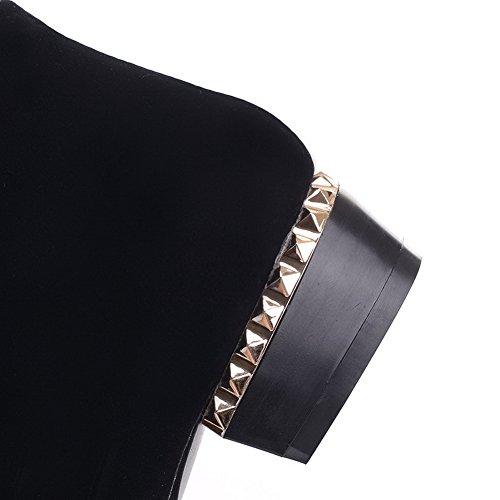 VogueZone009 Femme Tire à Talon Bas Dépolissement Mosaïque Haut Bas Bottes Noir