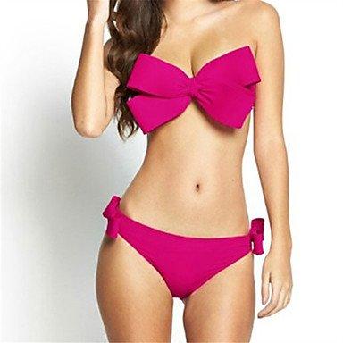 HHBO Damen Bikinis - Einfarbig Polyester Riemchen Orange