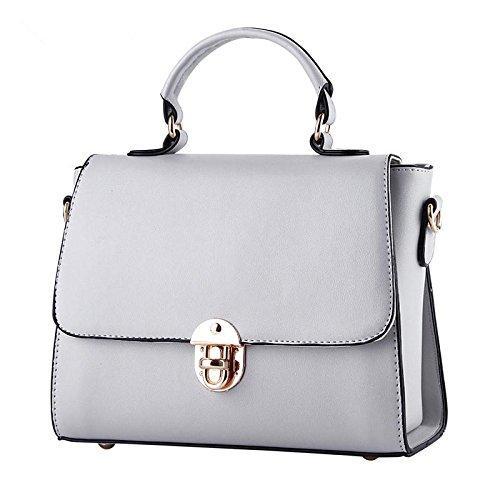 LDMB Damen-handtaschen Koreanische PU Leder kleine duftende Wind Lock Schnalle Frauen Schulter Handtasche Messenger gray