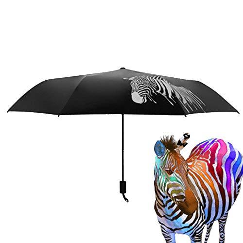 CHRISLZ Paraguas de cebra, Paraguas creativo de color de cambio de agua, Paraguas de cebra de goma negra Paraguas Plegable Tres (Zebra)