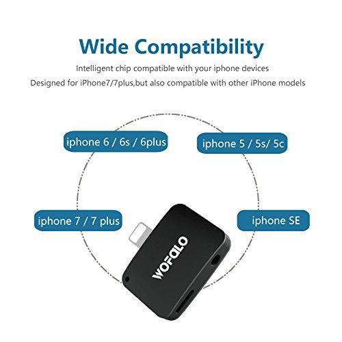 2 in 1 Lightning Adattatore per iPhone 7,Wofalo Lightning e 3.5mm AUX Jack Cuffie con 2A Rapida Ricarica Connettore Compatibile con iOS 10.3-Oro rosa Black