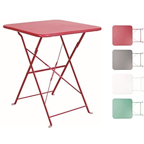BUTLERS Daisy Jane Klapptisch in Rot 58x58x71 cm - Balkontisch in Retro-Optik - Gartentisch für Balkon und Terrasse - Klapp-esstisch