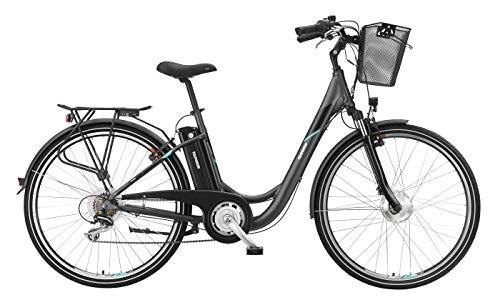 Telefunken E-Bike Elektrofahrrad Alu 28 Zoll mit 7-Gang Shimano Kettenschaltung, Pedelec Citybike leicht mit Fahrradkorb, 250W und 10Ah, 36V Sitzrohrakku, RC735 Multitalent