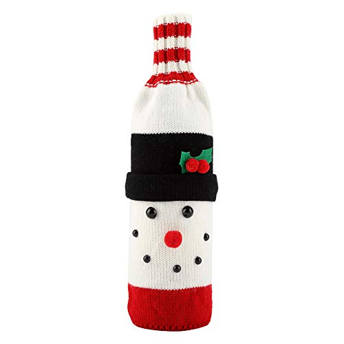 GLOGLOW Weihnachten Gestrickte Weinflasche Abdeckung Taschen Getränke Protector hässliche Pullover Tasche Urlaub Tabelle Party Dekor Ornament(Snowman)