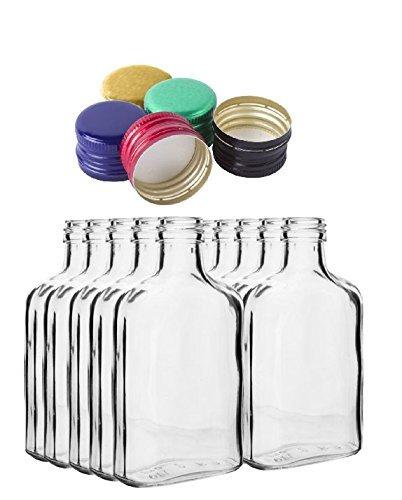 10botellas de bolsillo de 100ml con tapones dorados de rosca para vino, whisky o licores