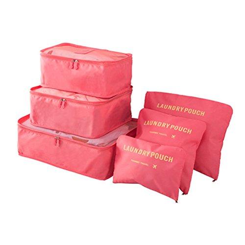 Koffer Organizer Reise Kleidertaschen, EASEHOME 6 Stück Wasserdichte Kofferorganizer Packtaschen Reisegepäck für Kleidung Schuhe Unterwäsche Kosmetik, Wassermelonen Rot