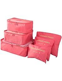 Organizador de Viaje Organizadores para Maletas, EASEHOME 3Pcs Cubos de Embalaje + 3pcs Bolsas de Almacenamiento para Ropa Zapato Cosmético Impermeable Bolsa de Lavandería