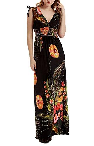 Donna v-collo eleganti fiori vestito boemia maxi cerimonia sera cocktail festa abito lungo taglie forti vestito da spiaggia stile 3 l