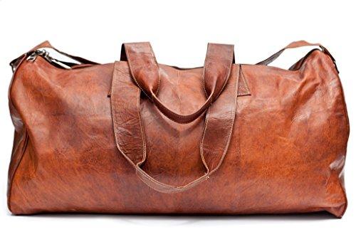 Barello Hemingway Echt Leder Duffle Bag Wochenend Tasche Große Reisetasche Leder Unisex Braun Duffle Bag (Duffle Braun)