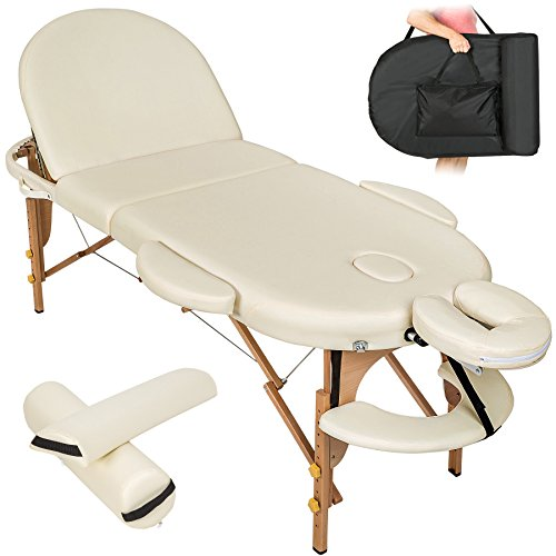 Tectake portable massage table oval 3-sections + bag and 2 pillows beige by tectake