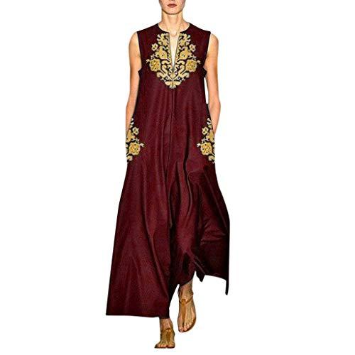 TYTUOO Damen Kleid Plus Size Vintage Daily Casual Ärmellos V-Ausschnitt Stickerei (Daenerys Plus Größe Kostüm)
