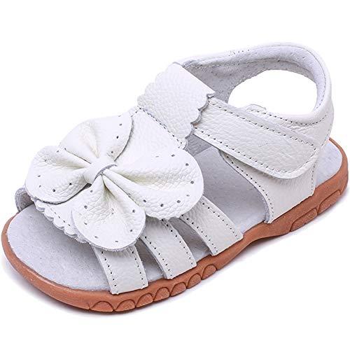 18f2fde38 Gaatpot Niña Blanco Sandalias de Cuero con Lazo Flexible Zapatos de ...