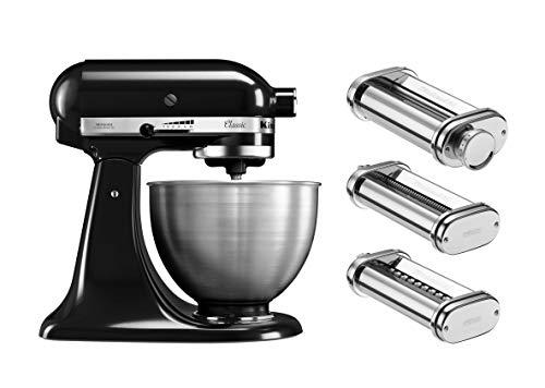KitchenAid Pasta-Set : Küchenmaschine in Schwarz und Nudelvorsatz 5K45SSEOB + 5KSMPRA