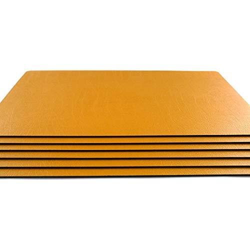 Platzsets aus Lederfaserstoff, groß, Senfgelb, 6 Stück (76 Stück Geschirr Set)