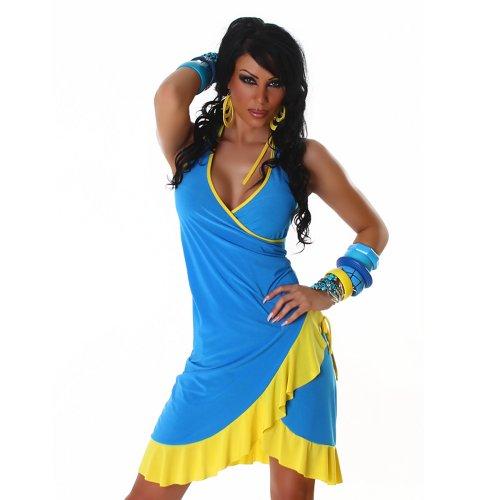 Jela London Unità Dress abito da cocktail da ballo con scollo a V bicolore colori correnti delle donne Turchese Giallo 36,38,40,42