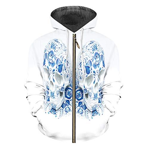 rm 3D Hoody Printed Blau Schädel Kostüm Hoodies Sweatshirts Blue Skulls 4XL ()
