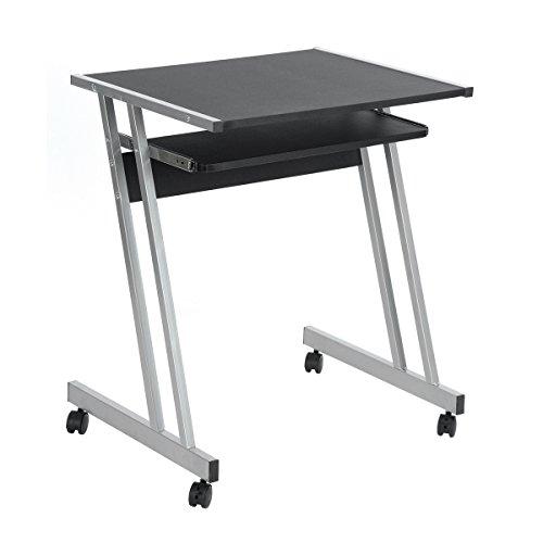 FurnitureR ltd Home Office z-Forma scrivania da Tavolo con Ruote piroettanti Estraibile Porta Tastiera