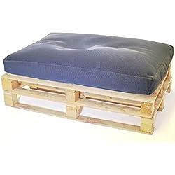 Hagoelvago - Vagofunseats- puf palets para exterior - tejido drenable relleno bolitas poliestireno - flota palet europeo, medidas 120x80x15 cm, color azul