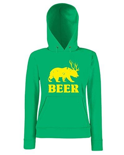 T-Shirtshock - Sweatshirt a capuche Femme TIR0006 beardeerbeer vintage dark tshirt Vert