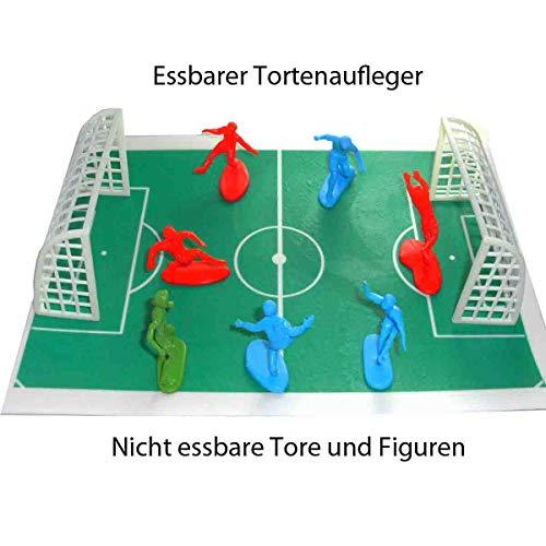 Tortenaufleger Fußballfeld mit besonderer Fußball-Dekoration - Fußballfeld (30x20cm) 2 Tore und 7 Spielfiguren