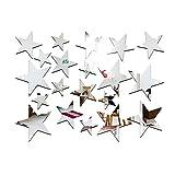 Masterein 20 teile / satz Sternform Spiegel Aufkleber 3D Acryl Sterne Gespiegelte Abziehbilder DIY Zimmer Dekoration Tapete Silber-