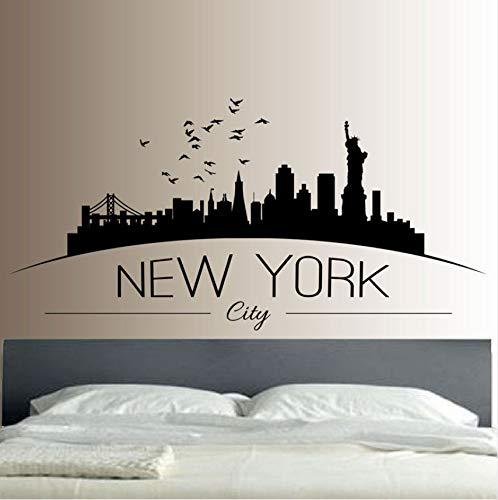 Lvabc New York Skyline Wandaufkleber Schlafzimmer Lounge Wandkunst Aufkleber Removable Mural Moderne Stadt Bild Design 83X42 Cm