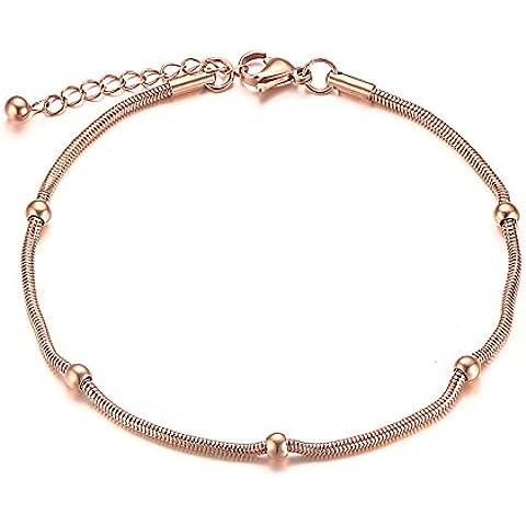 Vnox Acero inoxidable IP de oro rosa de oro fino bolas bola tobilleras cadena de pie con cadena de extensión para las niñas adolescentes