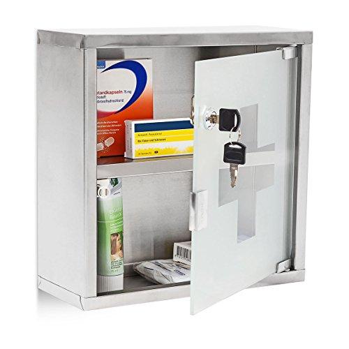 #Relaxdays Medizinschrank EMERGENCY L breit aus Edelstahl und Glas H x B x T: ca. 30 x 30 x 12 cm mit abschließbarer Tür und 2 Ablagen für Medikamente und Verbandszeug Apothekerschrank fürs Bad, silber#