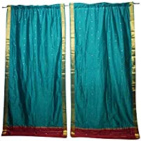 Mogul Interior Green Sari Curtains Rod Pockets Home Decor Window Treatment Pair Drapes 96x44