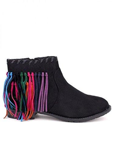 Cendriyon, Bottine daim noir AZALEE Mode Chaussures Femme Noir