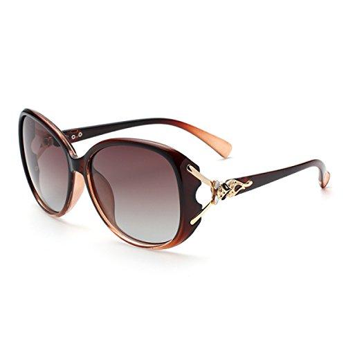 LQQAZY Polarisierte Sonnenbrillen Frauen Sonnenbrillen Flut 2018 UV-Schutz Brillen Lange Gerundete Gesichter Coole Design-Sonnenbrillen,Brown