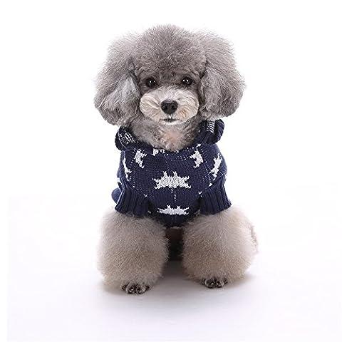 Uni Meilleur de Noël pour chien Maille côtelée Pull en tricot avec chapeau Manteau chaud Kintted Doggie Halloween Capuche