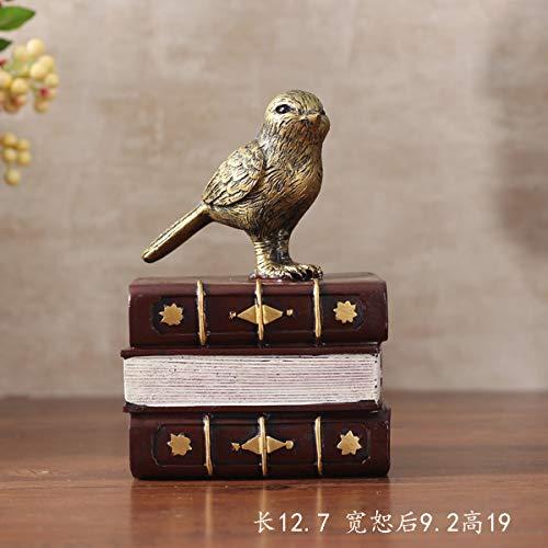 GBYJ Dekoration Retro Harz Handwerk Studie Wohnzimmer Desktop Dekoration Ornamente Vogel Buch Buch von Buchstützen, DFHDGad -