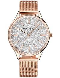 Reloj MINI FOCUS de Acero Inoxidable Reloj de Las Mujeres de Lujo Dorado del Reloj análogo