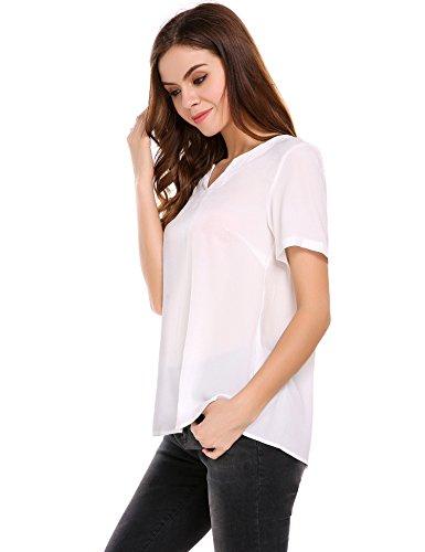 Meaneor Damen V-Ausschnitt Kurzarm Shirt Tunika Party Bluse Oberteil Sommer T-Shirt Weiß