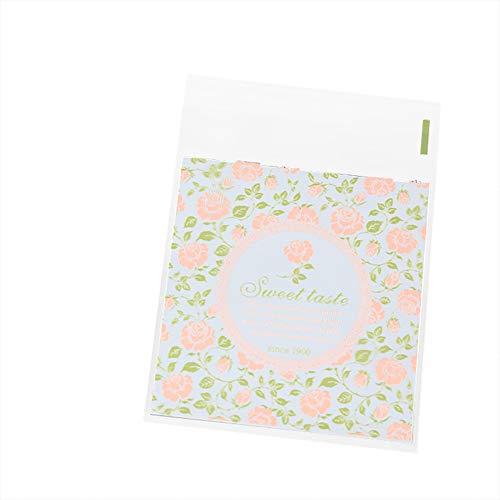 Lumanuby 100x ' Sweet Taste' Candy Bags mit Rose und Rebe Beutel Selbstklebend für Cookie Geschenke Give Away Geeignet für DIY Bäckerei Hochzeits oder Verlobung Size 10 * 10+3CM