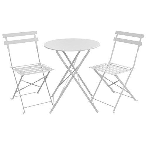 SVITA Bistro-Set 3-teilig Gartenset Garnitur Metall-Möbel Stuhl Tisch Kapp-Möbel Balko-Set Blau...
