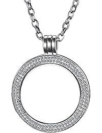 Collar Morella de 70 cm de acero inoxidable con monedas de joyería con piedras de zirconia colgante moneda de 33 mm plata